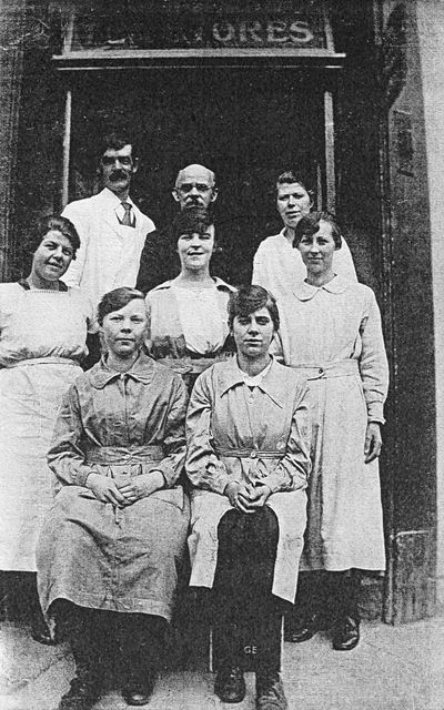 Staff at Phillip's Grocers, Church Street, Dronfield, c 1900s