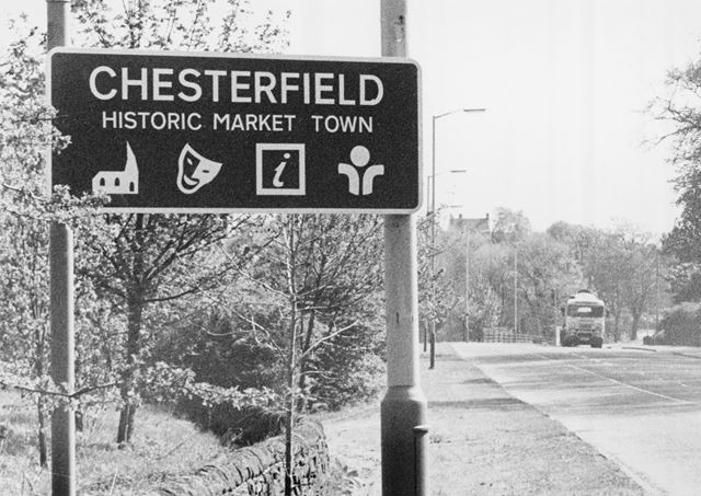 Tourist Sign on A619, near Brookside, Chesterfield, 1988