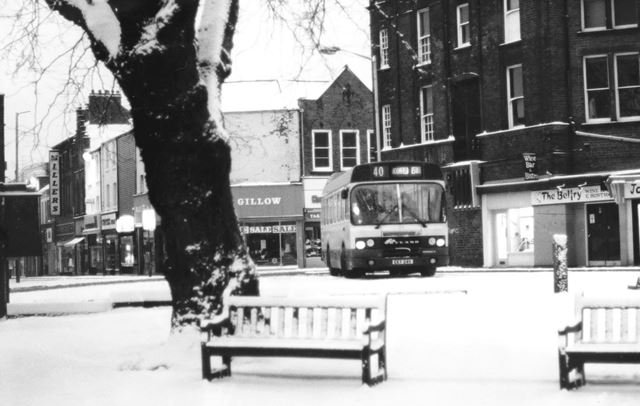 Bus in the Snow, Church Way, Chesterfield, c 1970
