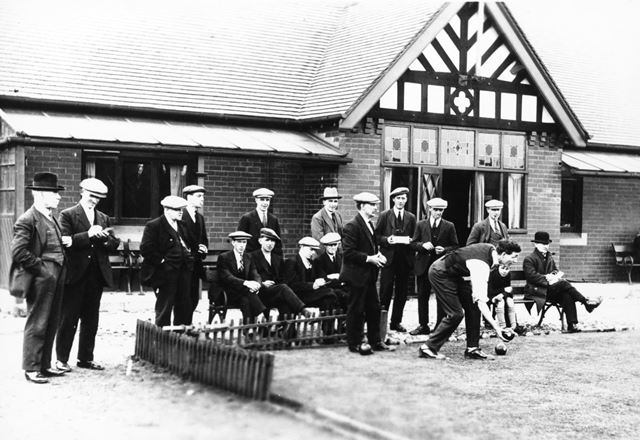 Bowling at the Miners' Welfare, Brampton, Chesterfield, c 1920