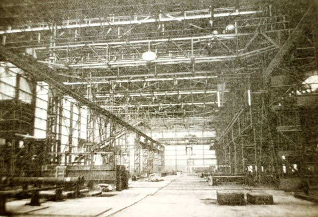 Interior of the main shop at the Sand Spun Plant