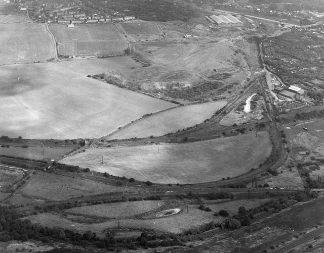 Aerial view showing site of Manners Colliery, Ilkeston, 1970