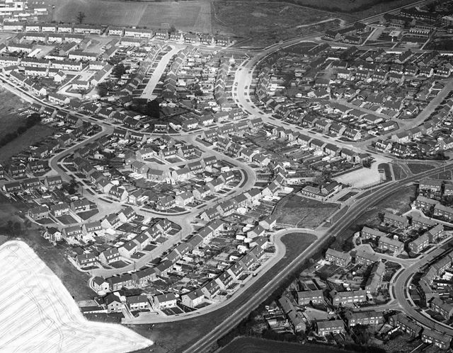 Aerial view showing Ladywood Road and Godfrey Drive, Kirk Hallam, 1970