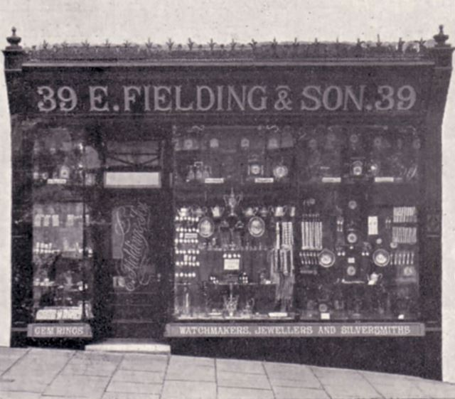 Fielding and Son Watch Makers and Jewellers, 39 High Street West, Glossop, 1904