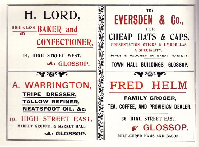 Adverts for H. Lord, A. Warrington, Everden and Co and Fred Helm, High Street, Glossop, 1904