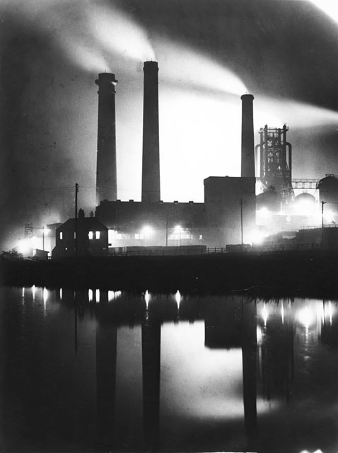 Stanton 'New' Iron Works (of 1874) from the Erewash Canal at night