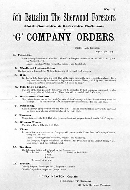 Orders for 'G' Company of the 5th Battalion, the Sherwood Foresters, 1914