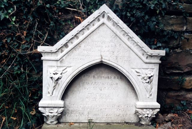 War memorial to the men of Barber's Row who died in the First World War