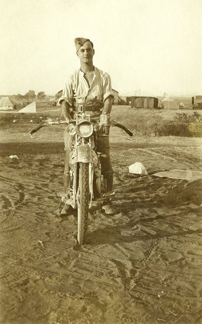 H V Green Despatch Rider on his Motorbike during War Service in Egypt, 1917