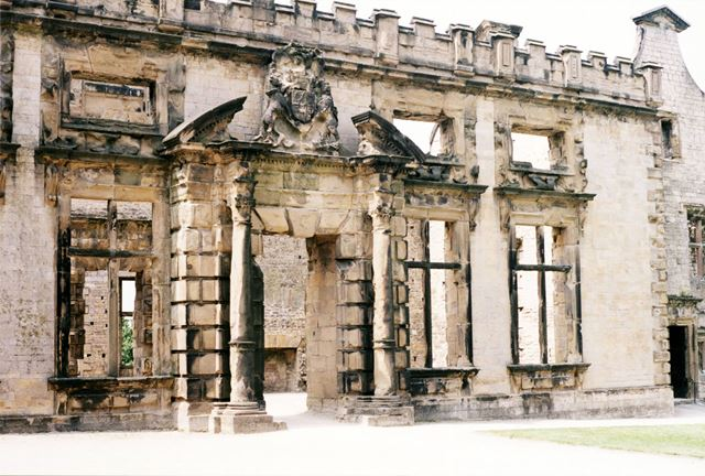 Bolsover Castle - The doorway to the ruins of the Great Court in the terrace range of buildings