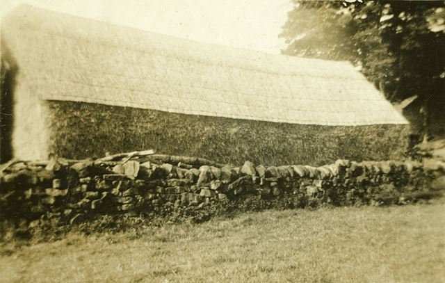 A thatched hay stack at Dale Bank Farm, Milltown (Near Ashover)