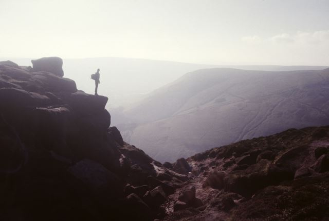 View in summer from the top of Grindsbrook, Kinder Scout