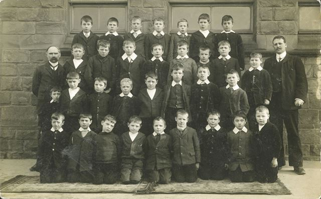 Boys and Staff members, Stainsby School, late 19th century