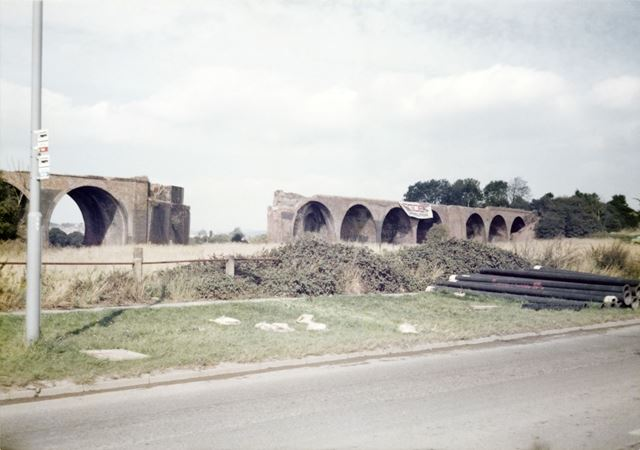 Demolition of viaduct between Croft Lane and Mansfield Road, Breadsall, 1979