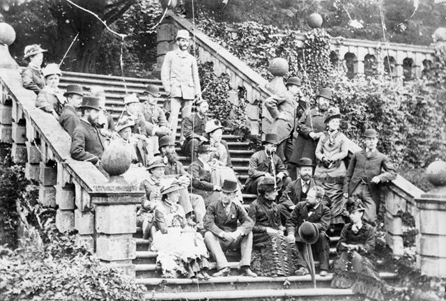Tourists on Steps at Haddon Hall, Bakewell, c 1870s-90s