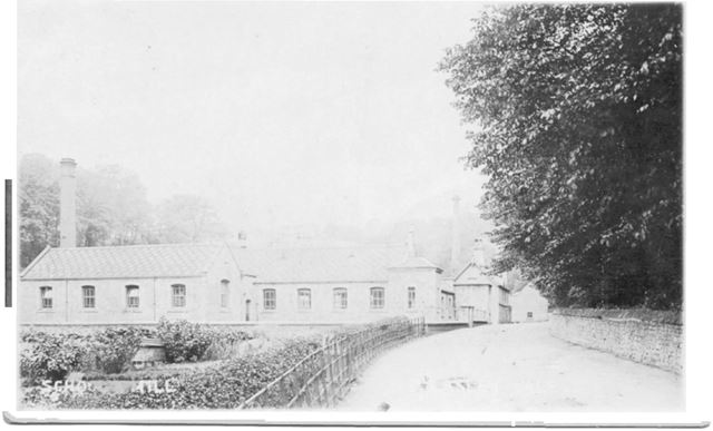 School and Lower Mill, Pleasley Vale, c 1910