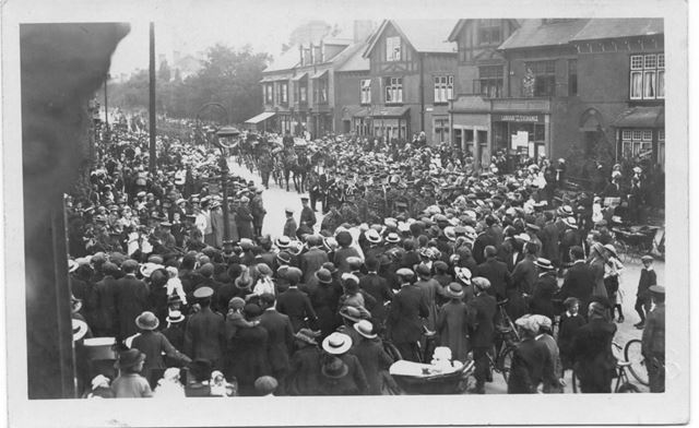 Military Funeral Procession, Derby Road, Long Eaton, c 1914-18