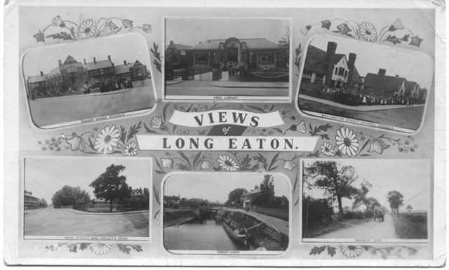 Views from Long Eaton: Higher Grade Schools, Free Library, Wellington Street Council Schools, Meadow