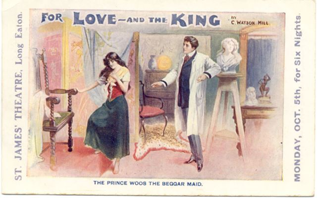 Theatre Flyer 'For Love and the King', St James Theatre, Derby Road, Long Eaton