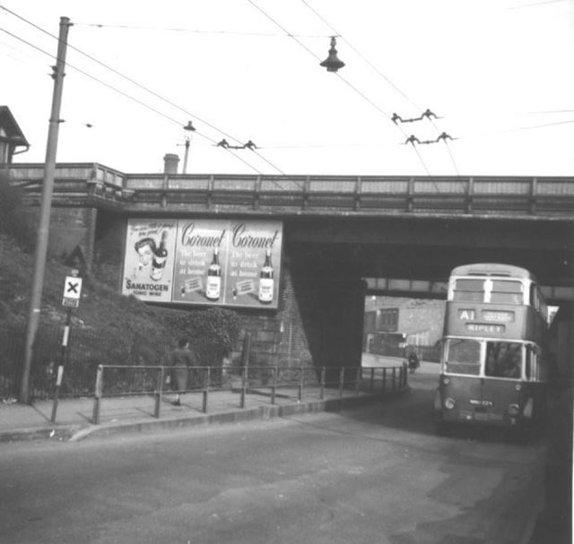 A1 trolley bus for Ripley, Station Road, Langley Mill, c 1950s