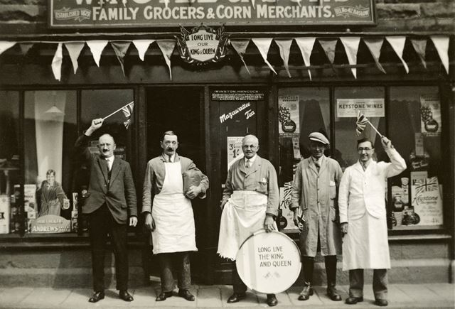 Shop Workers outside Wm. Gill and Sons Grocers Shop