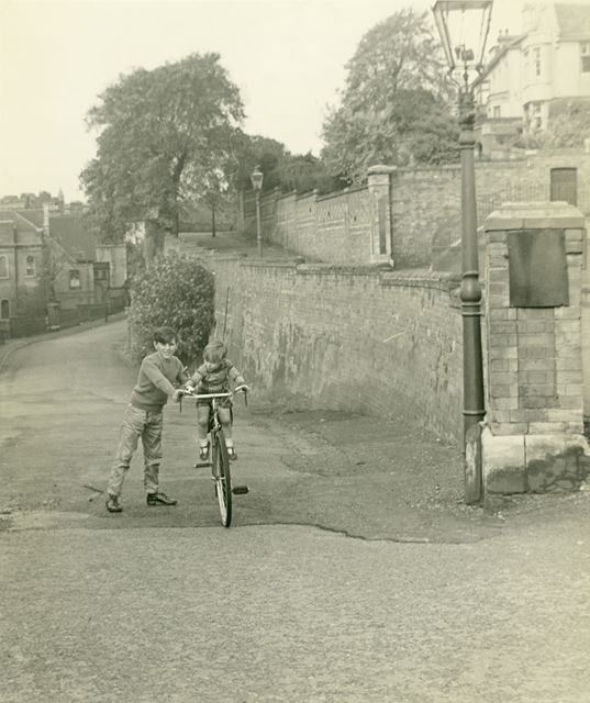 Steve Woodhead and his First Bike, Park Valley, Park, Notingham, c 1959