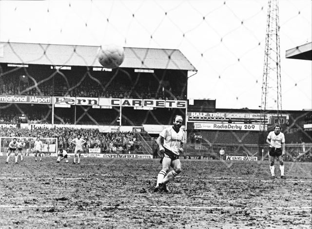 Derby County's Archie Gemmill scores a penalty