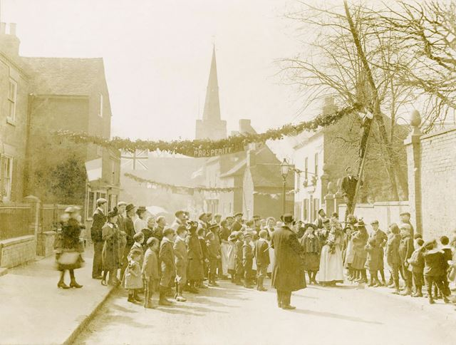Church Street, Spondon. Decorated for the wedding of Sir Richard Cooper and Alice Priestland