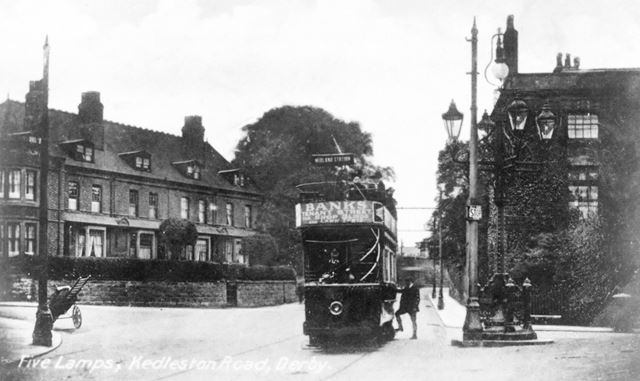 Open Topped Tram at Five Lamps, Kedleston Road, Derby, c 1910s